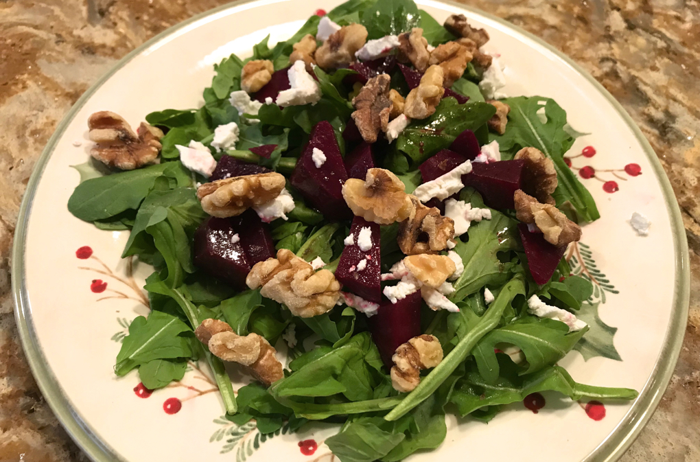 Photo of Roasted Beetroot Salad with Goats Cheese & Walnuts on holiday plate