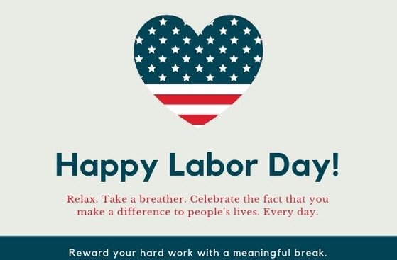 1020 - Navy Blue and Red Labor Day Card