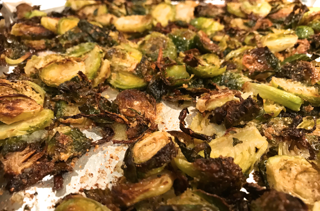 Photo of brussels sprouts on cooking sheet