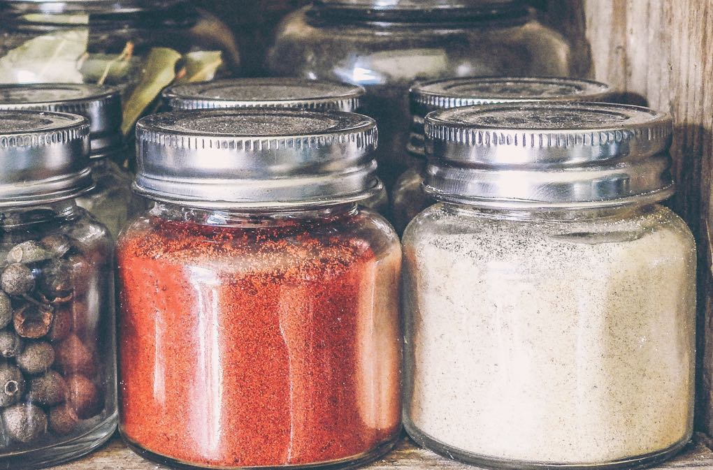 Photo of glass spice jars for buying spices in bulk