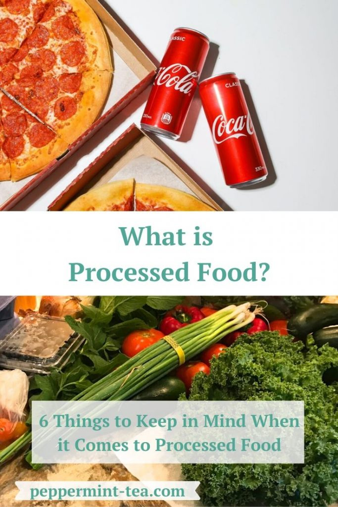 Photos of pizza and soda and fresh vegetables and fruit as examples of processed food.