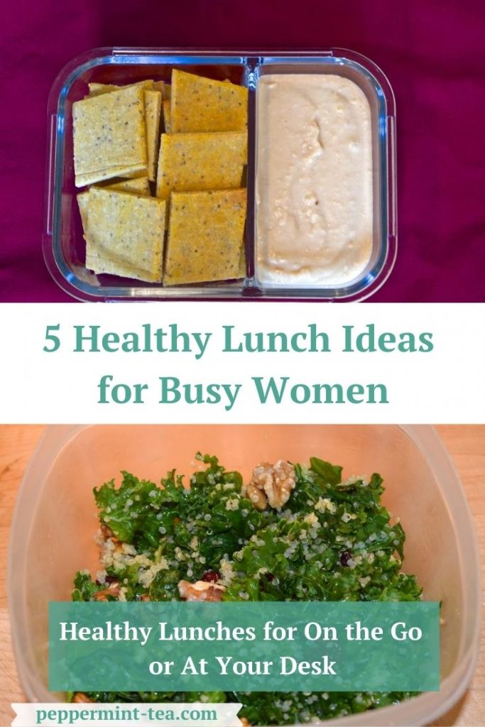 Photos of crackers and dip and quinoa salad as examples of healthy lunch ideas for women