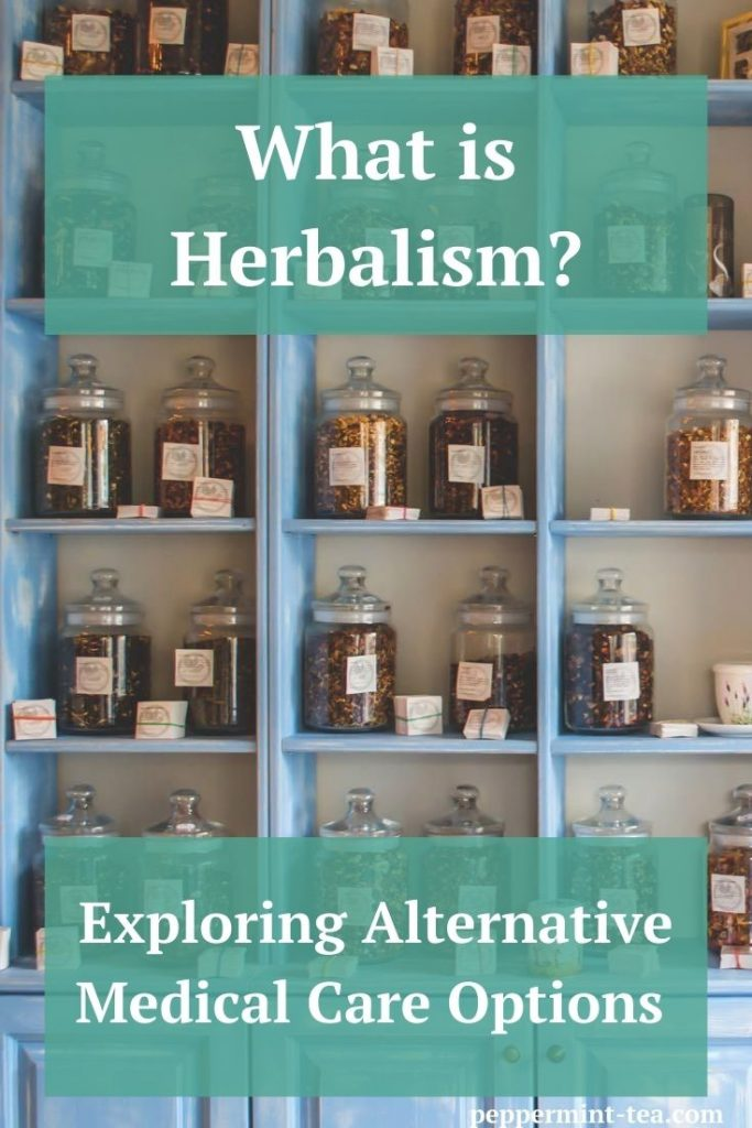 Photo of herbs in jars on shelves that are used in herbalism