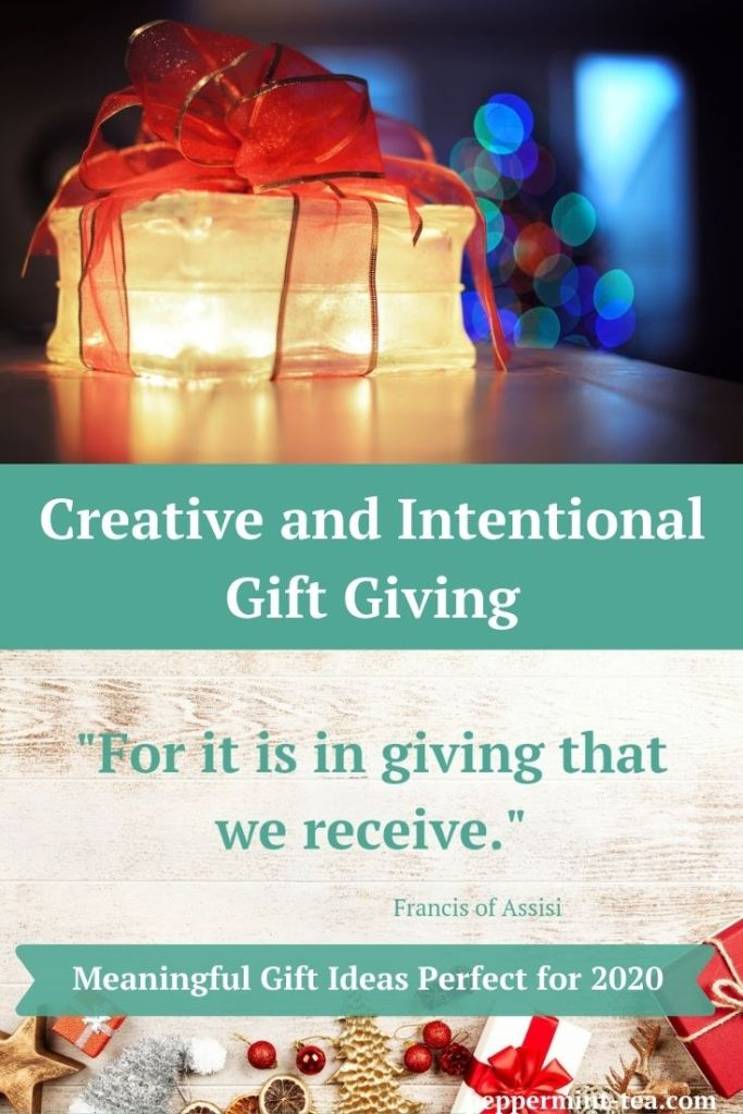 "Photos of a lit present wrapped with a red bow and a quote saying that ""For it is in giving that we receive"" as examples of intentional gift giving."