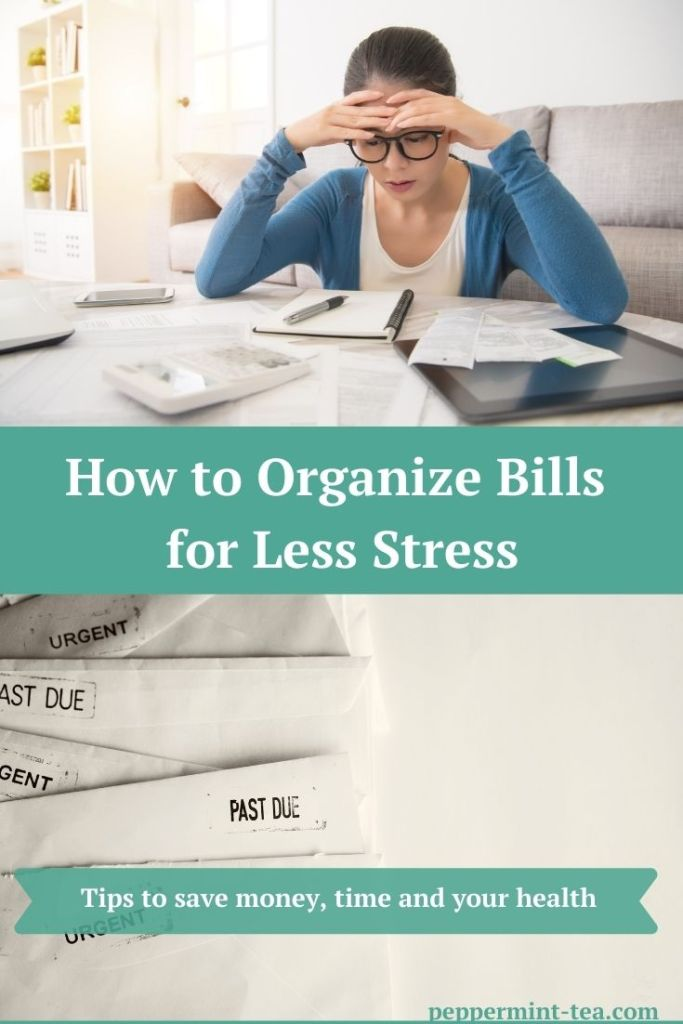 Photo of woman learning how to organize bills for less stress and photo of past due bills as an example for why we need to organize bills.