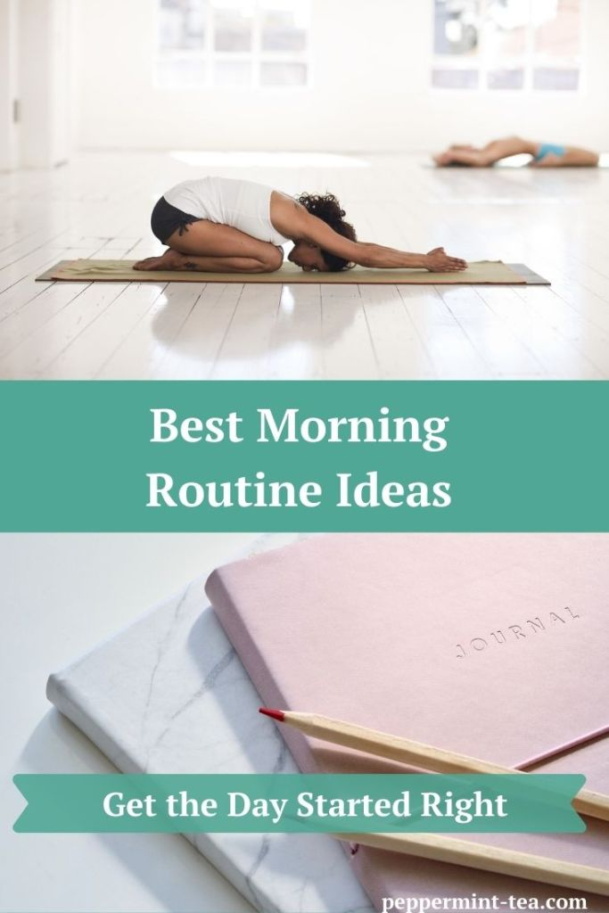 Photos of a woman doing yoga and of journals with a colored pencil on them as examples of morning routine ideas.