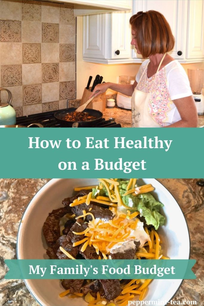 photos of Robyn Mooring cooking and of a homemade steak bowl as an example of how to cook healthy on a budget