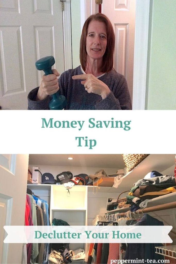 Photo of Robyn Mooring holding weight found as an example of money saving benefits of declutter your home and photo of cluttered closet