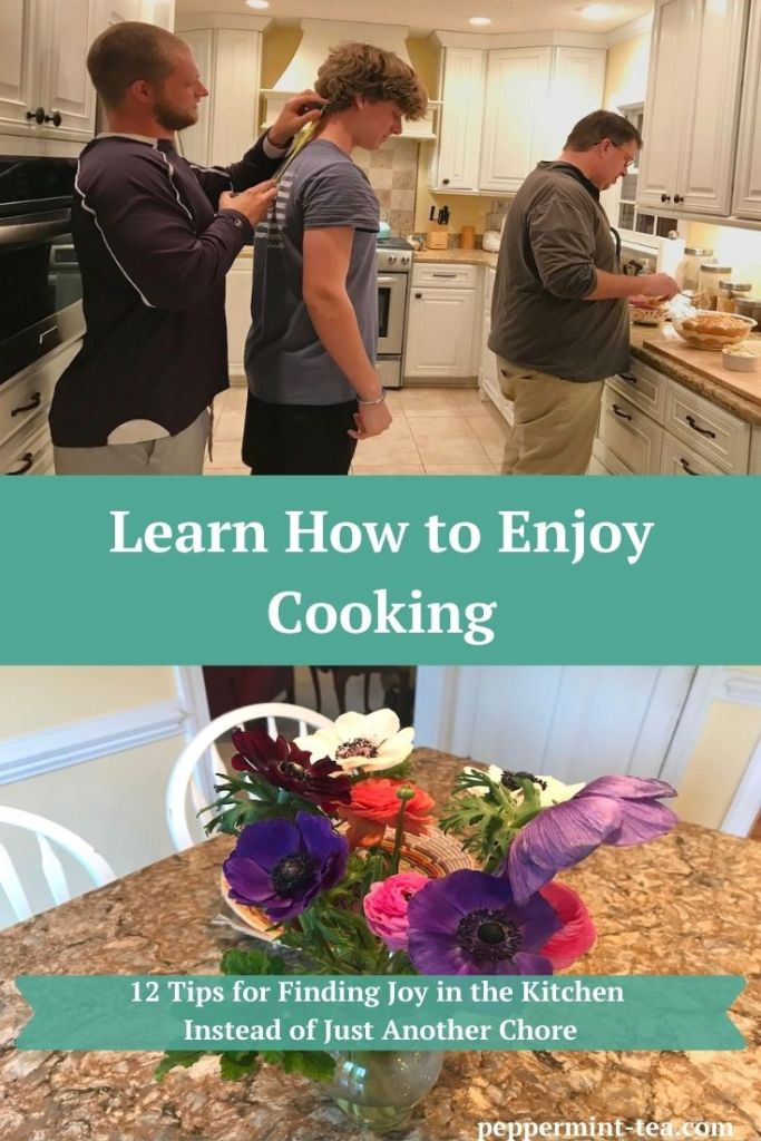 Photo of teenage boys in kitchen messing around while husband cooks and photo of flowers in a vase on kitchen island.