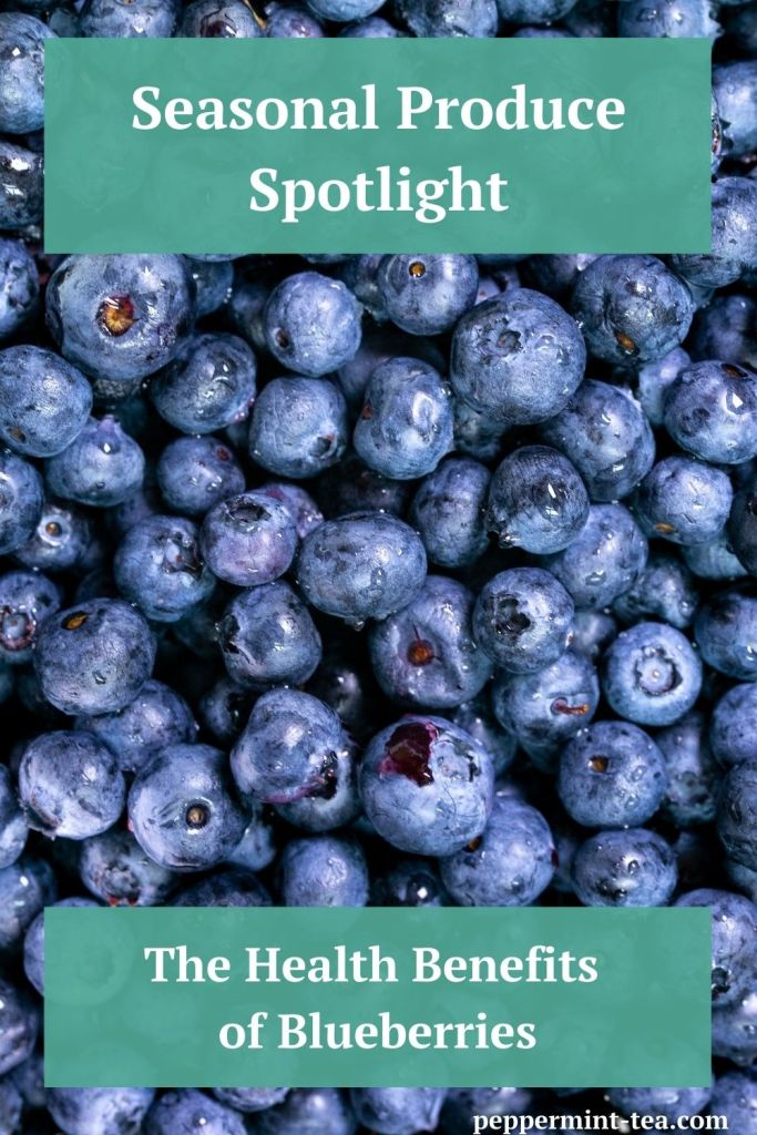 Closeup photo of blueberries as an example of the health benefits of blueberries.