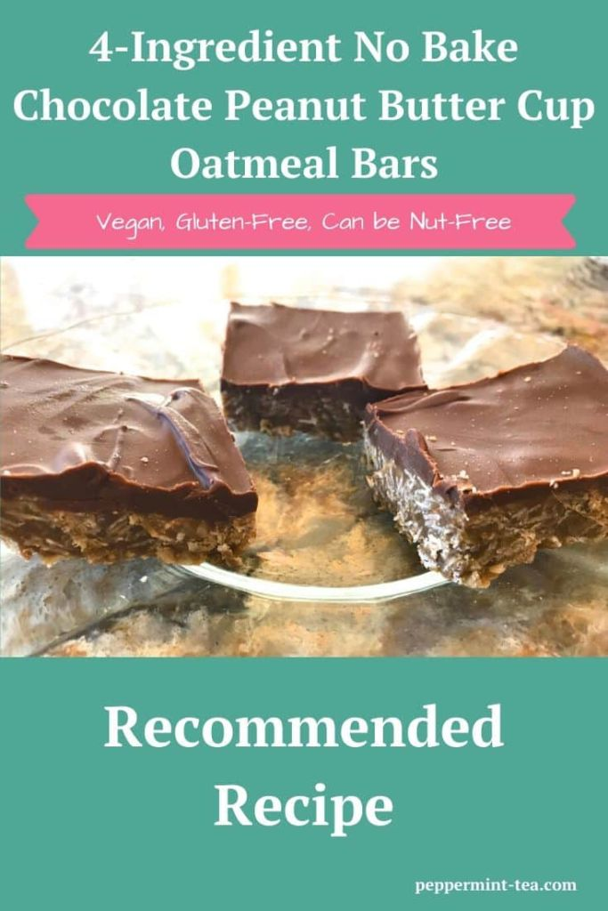 4-Ingredient No Bake Chocolate Peanut Butter Cup Oatmeal Bars
